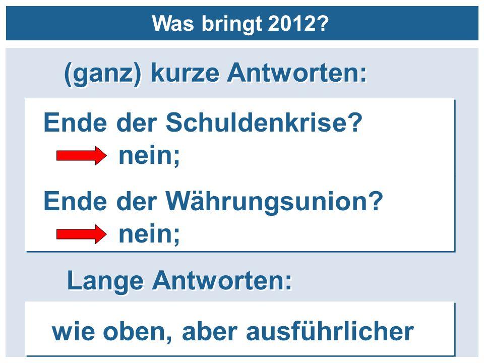 (ganz) kurze Antworten: Lange Antworten: Ende der Schuldenkrise? nein; Ende der Schuldenkrise? nein; wie oben, aber ausführlicher Was bringt 2012? End