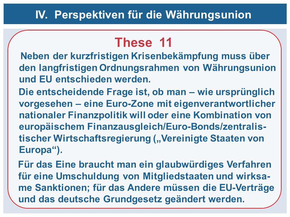 These 11 Neben der kurzfristigen Krisenbekämpfung muss über den langfristigen Ordnungsrahmen von Währungsunion und EU entschieden werden. These 11 Neb
