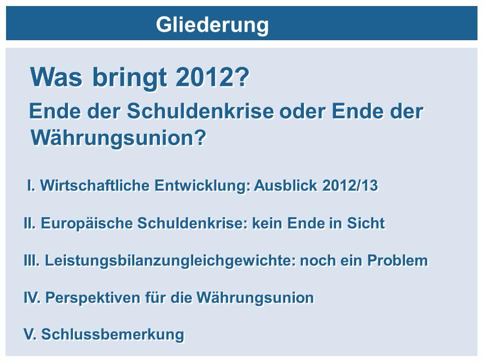 Gliederung Was bringt 2012? Ende der Schuldenkrise oder Ende der Währungsunion? I. Wirtschaftliche Entwicklung: Ausblick 2012/13 II. Europäische Schul