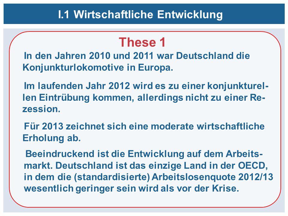 I.1 Wirtschaftliche Entwicklung These 1 In den Jahren 2010 und 2011 war Deutschland die Konjunkturlokomotive in Europa. These 1 In den Jahren 2010 und