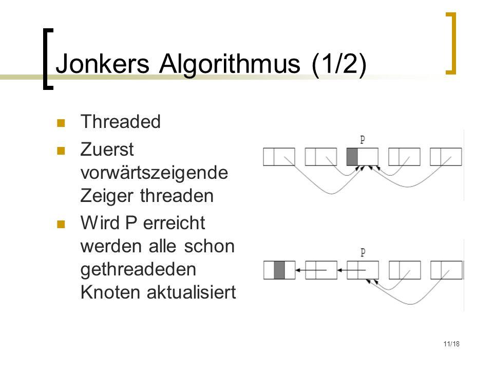 11/18 Jonkers Algorithmus (1/2) Threaded Zuerst vorwärtszeigende Zeiger threaden Wird P erreicht werden alle schon gethreadeden Knoten aktualisiert