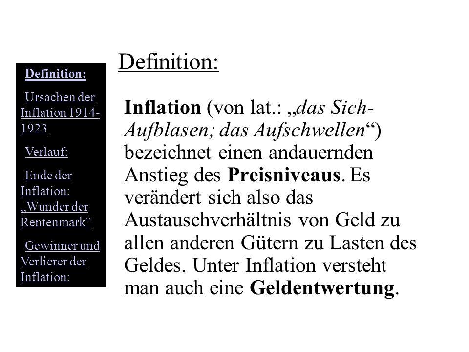 Ursachen der Inflation 1914- 1923 Enorme Kriegskosten (wurde durch Zinsanleihen bei der Bevölkerung finanziert) Geld wurde gedruckt (obwohl nicht vorhanden) Gütervermehrung hielt mit Geldmengenvermeh-rung nicht Schritt Hohe Reparationskosten (Schadenersatzzah-lungen an Kriegsgewinner) Rasches ansteigen der Preise und ein Werteverlust der Reichsmark also eine Inflation Definition: Ursachen der Inflation 1914- 1923Ursachen der Inflation 1914- 1923 Verlauf: Ende der Inflation: Wunder der RentenmarkEnde der Inflation: Wunder der Rentenmark Gewinner und Verlierer der Inflation:Gewinner und Verlierer der Inflation: