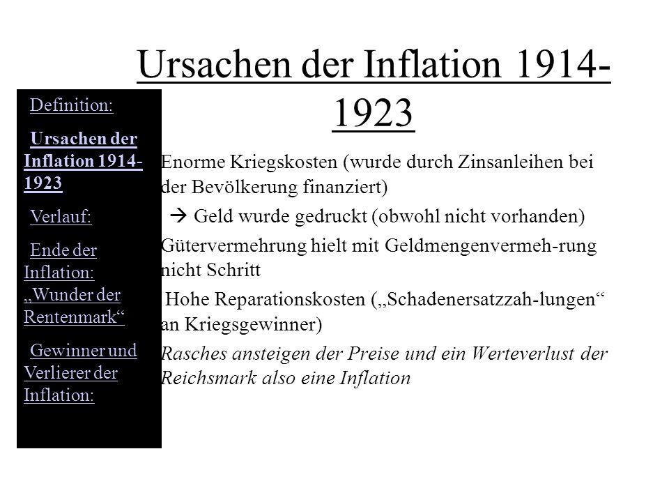 Ursachen der Inflation 1914- 1923 Enorme Kriegskosten (wurde durch Zinsanleihen bei der Bevölkerung finanziert) Geld wurde gedruckt (obwohl nicht vorh