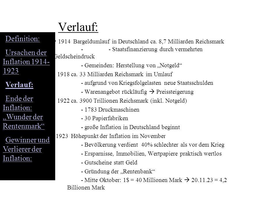 Verlauf: 1914 Bargeldumlauf in Deutschland ca. 8,7 Milliarden Reichsmark - - Staatsfinanzierung durch vermehrten Geldscheindruck - Gemeinden: Herstell
