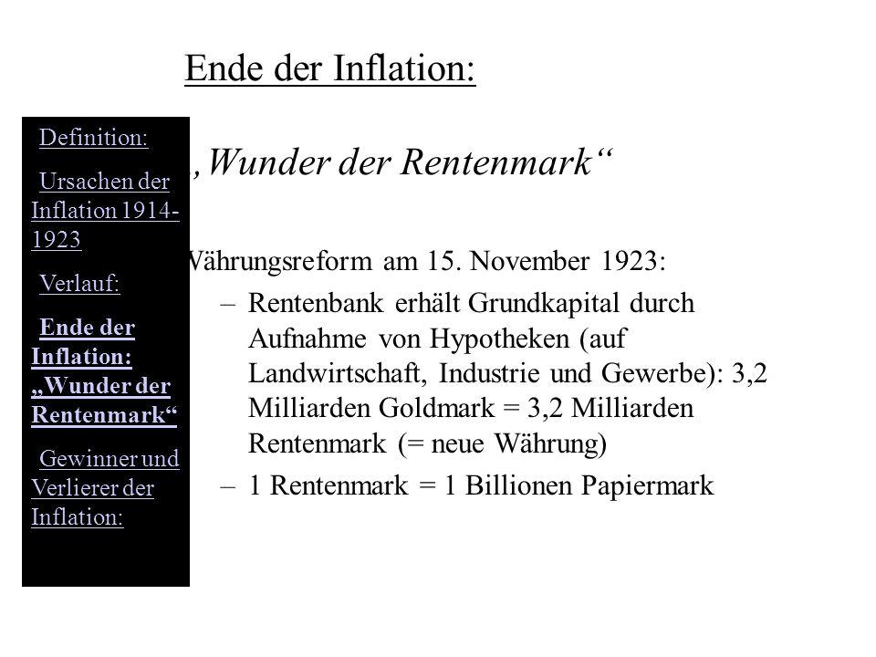 Ende der Inflation: Wunder der Rentenmark Währungsreform am 15. November 1923: –Rentenbank erhält Grundkapital durch Aufnahme von Hypotheken (auf Land