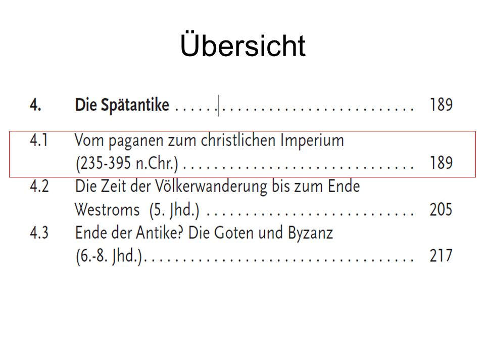 Überblick Die Soldatenkaiser (235-284 n.Chr.) Die Tetrarchie (296- ca.
