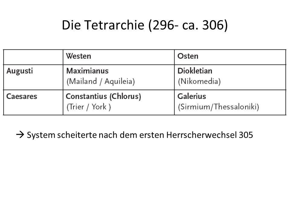 Die Tetrarchie (296- ca. 306).. System scheiterte nach dem ersten Herrscherwechsel 305