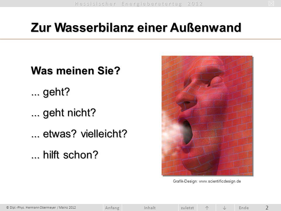 © Dipl.-Phys. Hermann Obermeyer / Mainz 2012 zuletzt Ende AnfangInhalt 2 Zur Wasserbilanz einer Außenwand Was meinen Sie?... geht?... geht nicht?... e