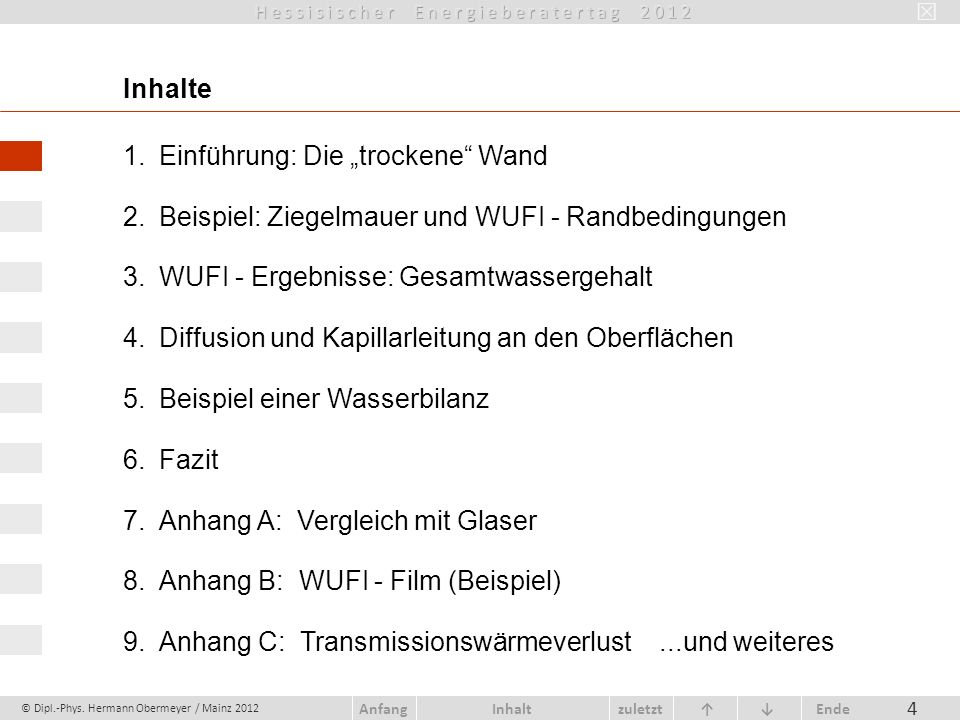 © Dipl.-Phys. Hermann Obermeyer / Mainz 2012 zuletzt Ende AnfangInhalt 65 Raumluftfeuchte