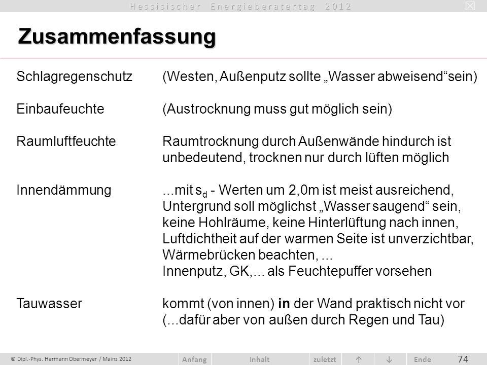 © Dipl.-Phys. Hermann Obermeyer / Mainz 2012 zuletzt Ende AnfangInhalt 74 Zusammenfassung Schlagregenschutz (Westen, Außenputz sollte Wasser abweisend