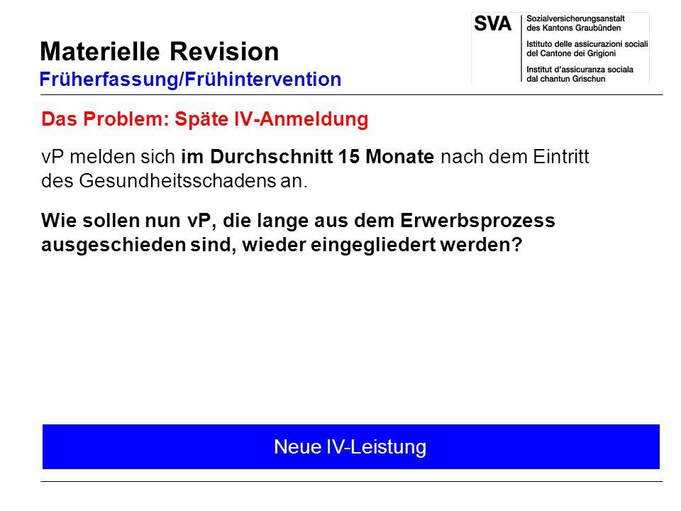 Materielle Revision Früherfassung/Frühintervention Neue IV-Leistung Das Problem: Späte IV-Anmeldung vP melden sich im Durchschnitt 15 Monate nach dem Eintritt des Gesundheitsschadens an.
