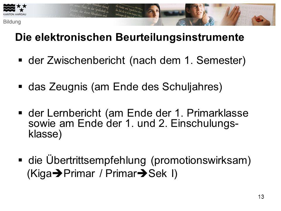 13 Die elektronischen Beurteilungsinstrumente der Zwischenbericht (nach dem 1.
