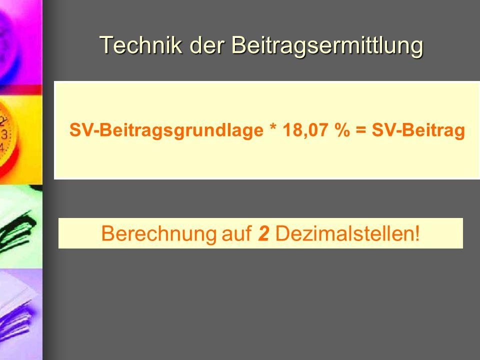 Technik der Beitragsermittlung SV-Beitragsgrundlage * 18,07 % = SV-Beitrag Berechnung auf 2 Dezimalstellen!