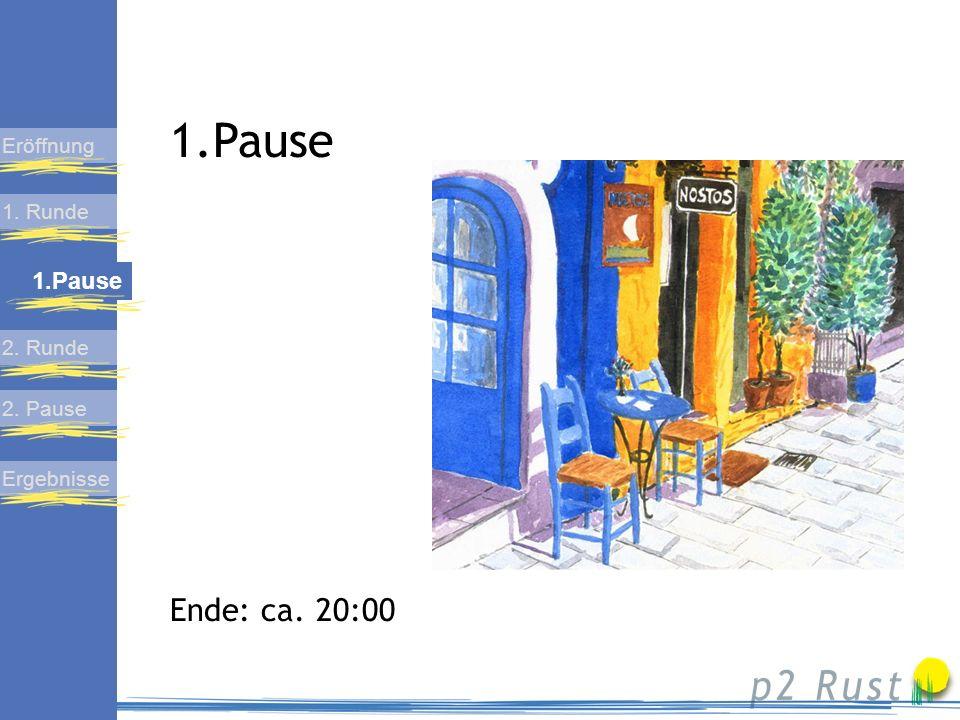 1. Runde 1. Pause 2. Pause Ergebnisse Eröffnung 2. Runde Zweite Diskussionsrunde Ende: ca. 21:00