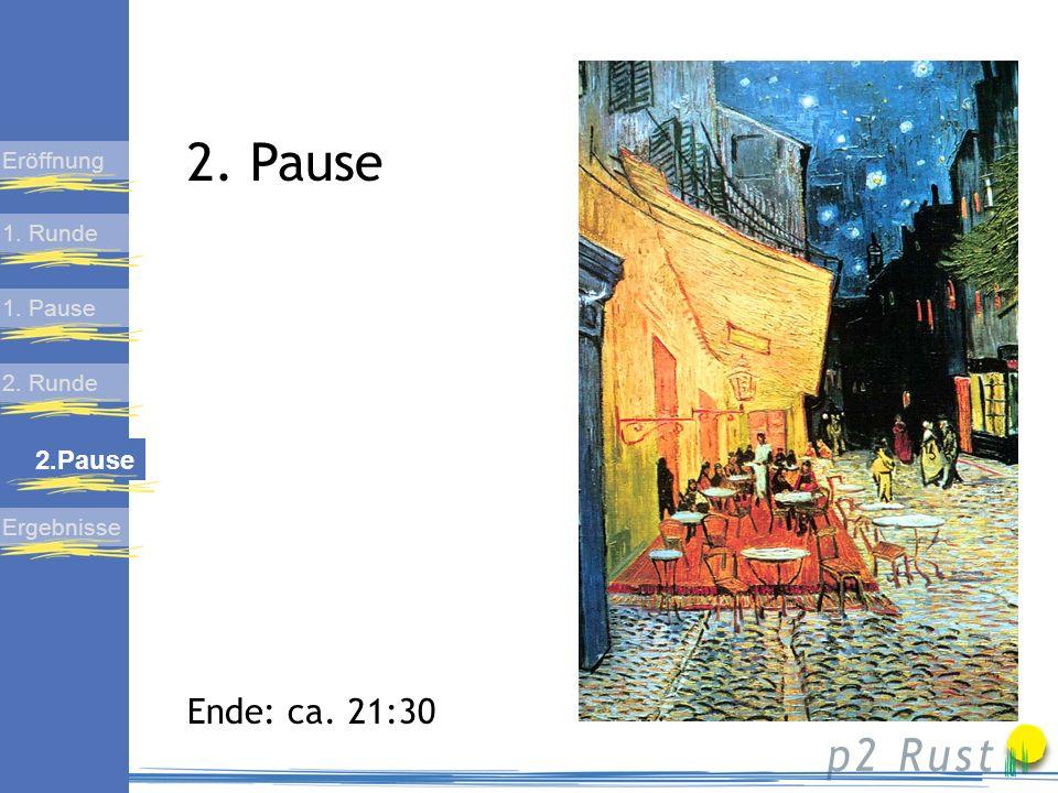 Präsentation der Endergebnisse 1. Runde 1. Pause 2. Runde 2. Pause Eröffnung Ergebnisse