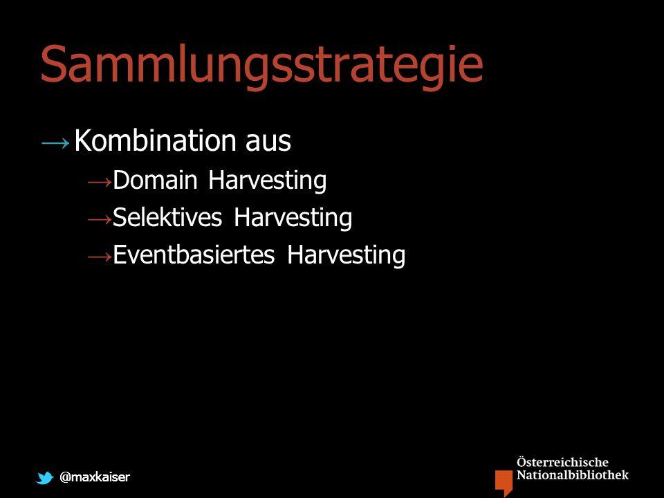 Sammlungsstrategie Kombination aus Domain Harvesting Selektives Harvesting Eventbasiertes Harvesting