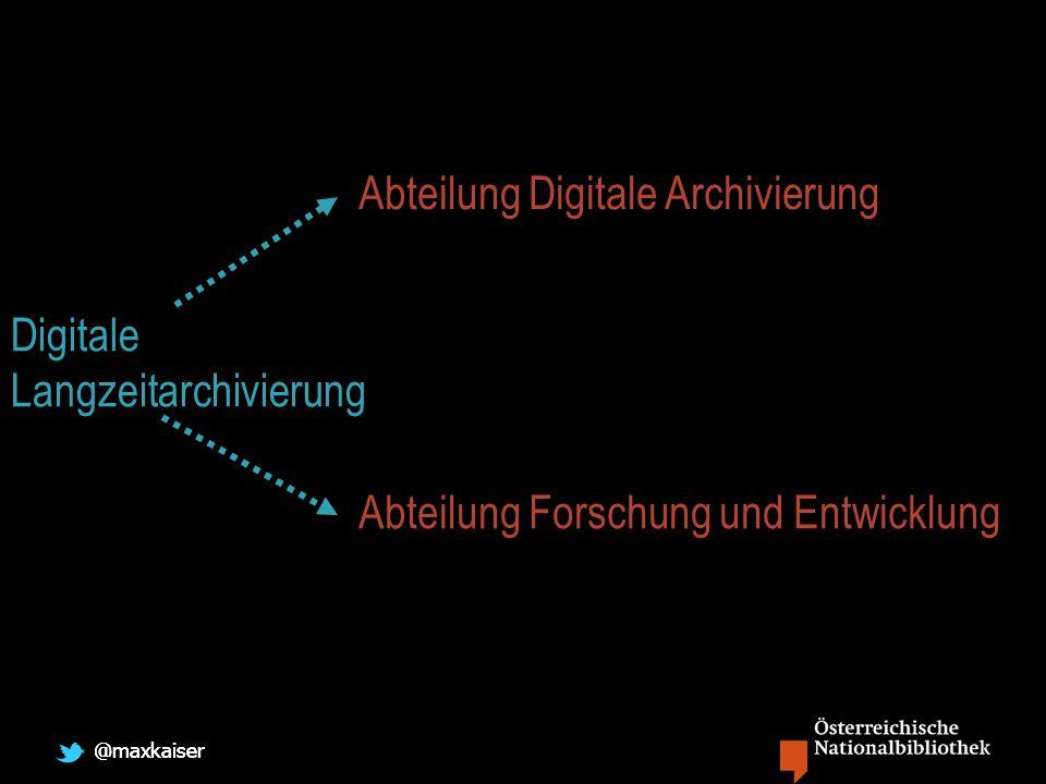 @maxkaiser Abteilung Digitale Archivierung Abteilung Forschung und Entwicklung Digitale Langzeitarchivierung