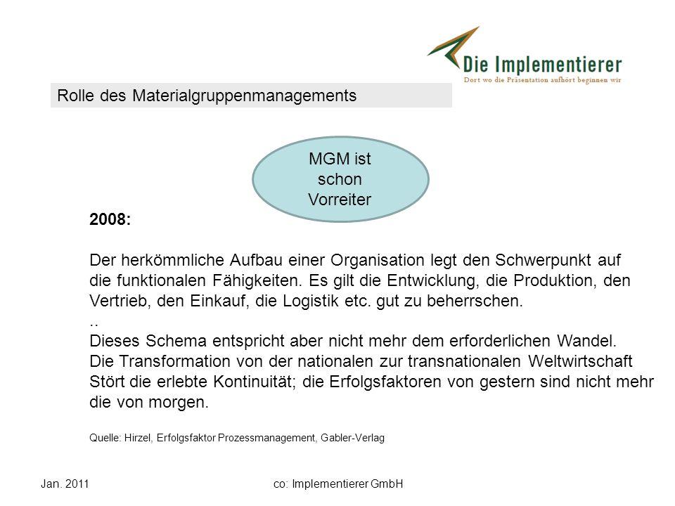 Jan. 2011co: Implementierer GmbH 2008: Der herkömmliche Aufbau einer Organisation legt den Schwerpunkt auf die funktionalen Fähigkeiten. Es gilt die E