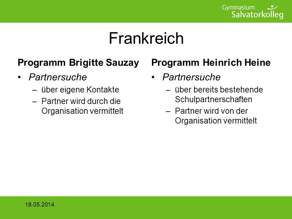 Frankreich Programm Brigitte Sauzay Partnersuche –über eigene Kontakte –Partner wird durch die Organisation vermittelt Programm Heinrich Heine Partnersuche –über bereits bestehende Schulpartnerschaften –Partner wird von der Organisation vermittelt 18.05.2014