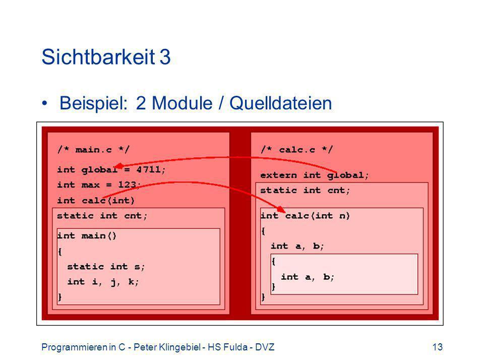 Programmieren in C - Peter Klingebiel - HS Fulda - DVZ13 Sichtbarkeit 3 Beispiel: 2 Module / Quelldateien