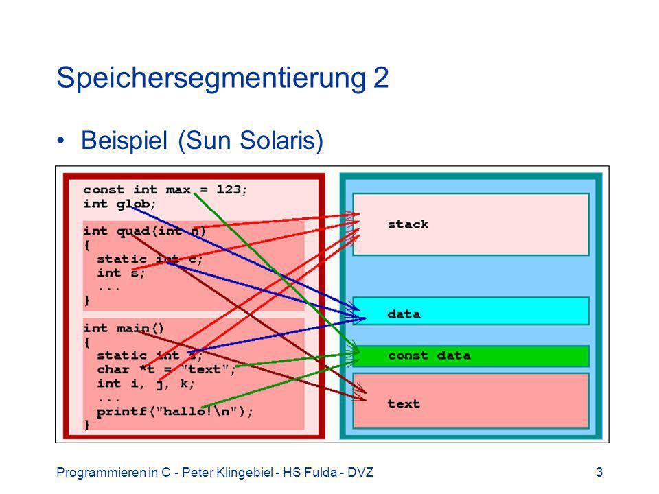 Programmieren in C - Peter Klingebiel - HS Fulda - DVZ24 C-Preprozessor 9 Beispiel: proc1(); #ifdef DEBUG puts( nach proc1 ); #endif proc2(); Nach Aufruf von cpp: proc1(); proc2(); Nach Aufruf von cpp –DDEBUG: proc1(); puts( nach proc1 ); proc2();