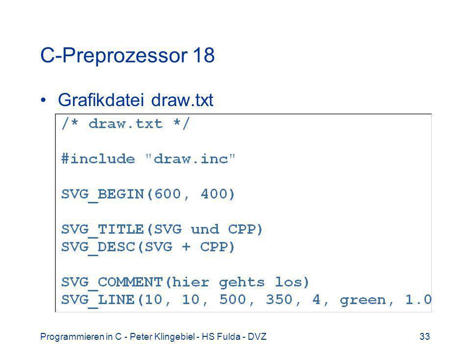 Programmieren in C - Peter Klingebiel - HS Fulda - DVZ33 C-Preprozessor 18 Grafikdatei draw.txt