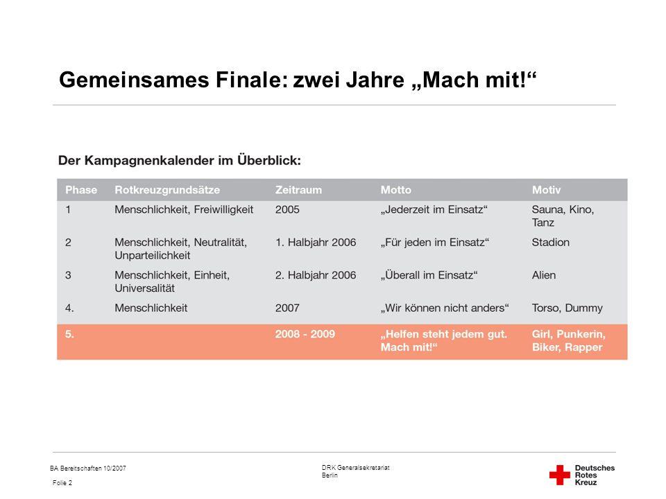 DRK Generalsekretariat Berlin Folie 2 BA Bereitschaften 10/2007 Gemeinsames Finale: zwei Jahre Mach mit!