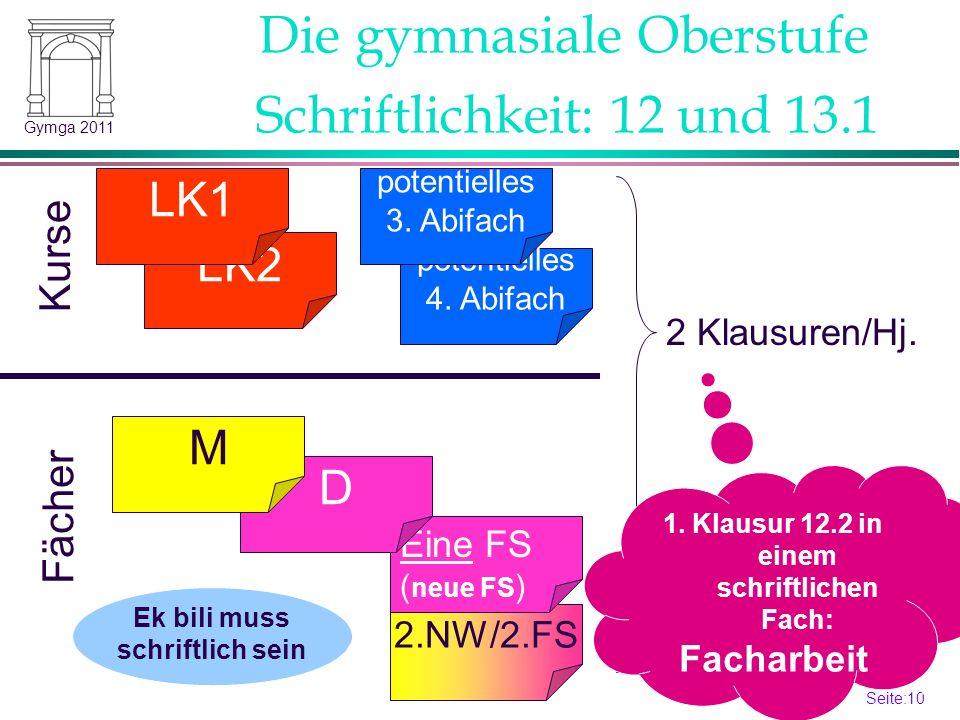 Seite:10 10 Gymga 2011 2.NW/2.FS Schriftlichkeit: 12 und 13.1 LK2 LK1 potentielles 4.