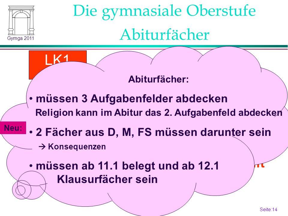 Seite:14 14 Gymga 2011 Festlegung Beginn 13.1 Abiturfächer LK2 LK1 Gk 4.