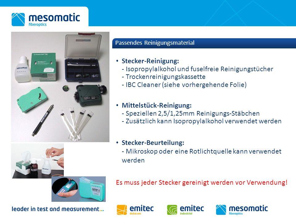 Passendes Reinigungsmaterial Stecker-Reinigung: - Isopropylalkohol und fuselfreie Reinigungstücher - Trockenreinigungskassette - IBC Cleaner (siehe vo