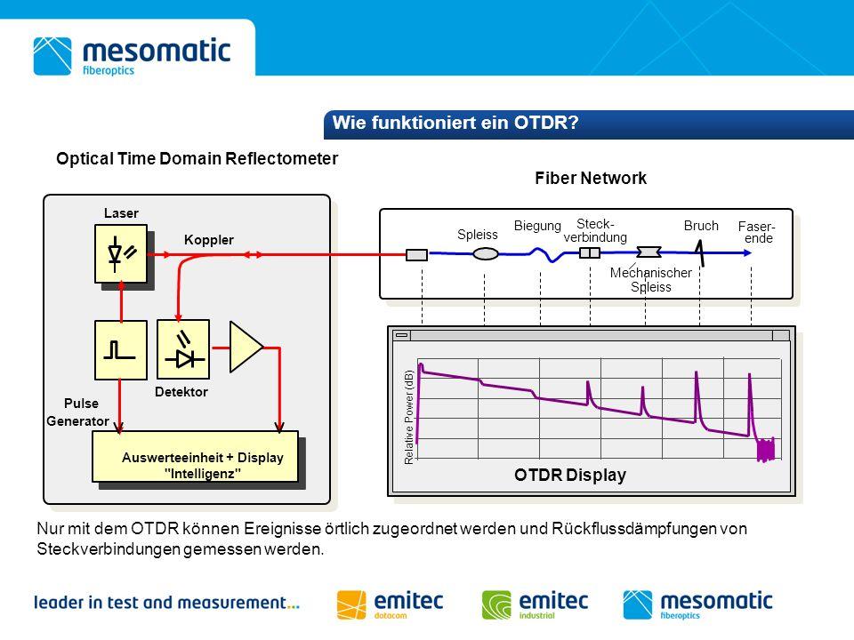 Wie funktioniert ein OTDR? Nur mit dem OTDR können Ereignisse örtlich zugeordnet werden und Rückflussdämpfungen von Steckverbindungen gemessen werden.