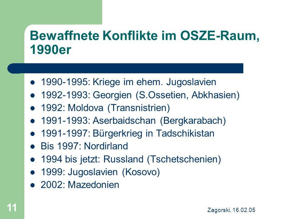 Zagorski, 16.02.05 11 Bewaffnete Konflikte im OSZE-Raum, 1990er 1990-1995: Kriege im ehem.
