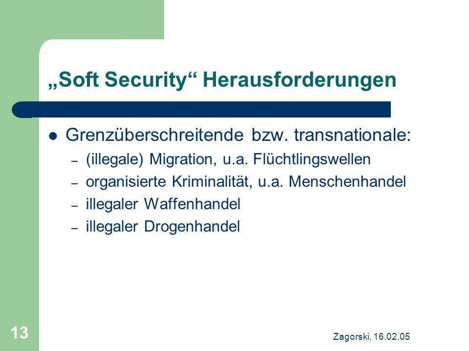 Zagorski, 16.02.05 13 Soft Security Herausforderungen Grenzüberschreitende bzw. transnationale: – (illegale) Migration, u.a. Flüchtlingswellen – organ