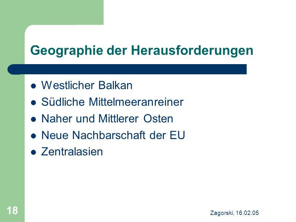 Zagorski, 16.02.05 18 Geographie der Herausforderungen Westlicher Balkan Südliche Mittelmeeranreiner Naher und Mittlerer Osten Neue Nachbarschaft der EU Zentralasien