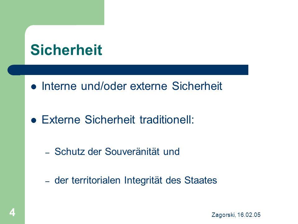 Zagorski, 16.02.05 4 Sicherheit Interne und/oder externe Sicherheit Externe Sicherheit traditionell: – Schutz der Souveränität und – der territorialen Integrität des Staates