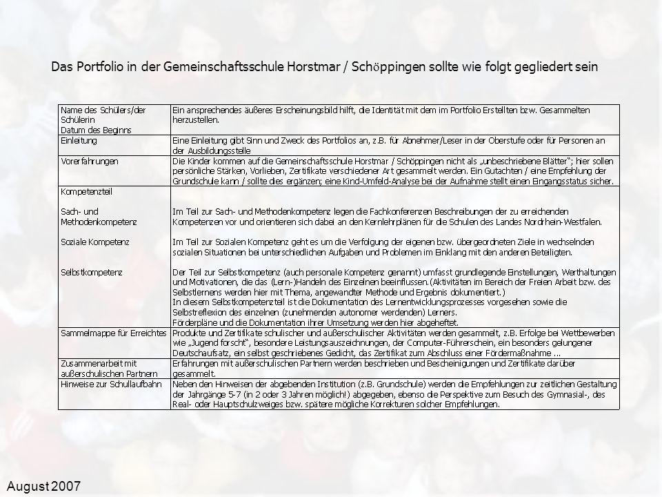 August 2007 Das Portfolio in der Gemeinschaftsschule Horstmar / Sch ö ppingen sollte wie folgt gegliedert sein