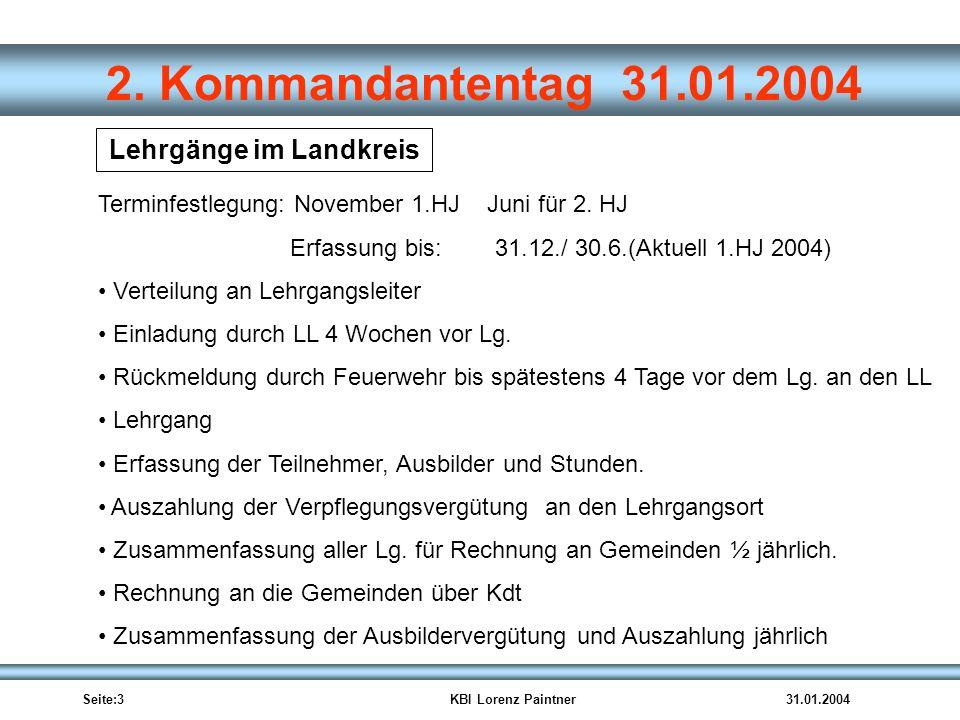 Seite:3KBI Lorenz Paintner31.01.2004 2. Kommandantentag 31.01.2004 Lehrgänge im Landkreis Terminfestlegung: November 1.HJ Juni für 2. HJ Erfassung bis