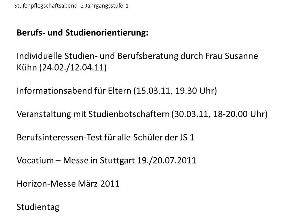 Berufs- und Studienorientierung: Individuelle Studien- und Berufsberatung durch Frau Susanne Kühn (24.02./12.04.11) Informationsabend für Eltern (15.03.11, 19.30 Uhr) Veranstaltung mit Studienbotschaftern (30.03.11, 18-20.00 Uhr) Berufsinteressen-Test für alle Schüler der JS 1 Vocatium – Messe in Stuttgart 19./20.07.2011 Horizon-Messe März 2011 Studientag