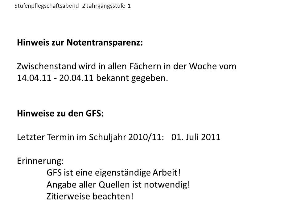 Hinweis zur Notentransparenz: Zwischenstand wird in allen Fächern in der Woche vom 14.04.11 - 20.04.11 bekannt gegeben.