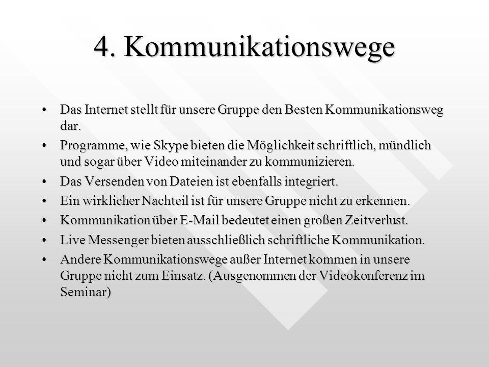 4. Kommunikationswege Das Internet stellt für unsere Gruppe den Besten Kommunikationsweg dar.Das Internet stellt für unsere Gruppe den Besten Kommunik