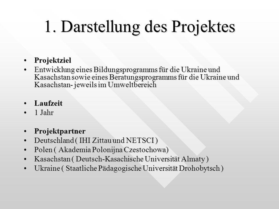 1. Darstellung des Projektes ProjektzielProjektziel Entwicklung eines Bildungsprogramms für die Ukraine und Kasachstan sowie eines Beratungsprogramms