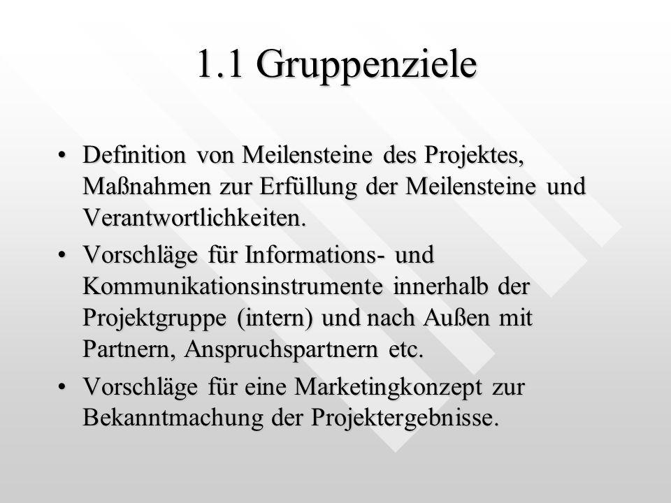 1.1 Gruppenziele Definition von Meilensteine des Projektes, Maßnahmen zur Erfüllung der Meilensteine und Verantwortlichkeiten.Definition von Meilensteine des Projektes, Maßnahmen zur Erfüllung der Meilensteine und Verantwortlichkeiten.