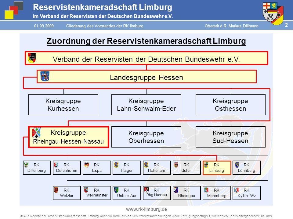 Reservistenkameradschaft Limburg im Verband der Reservisten der Deutschen Bundeswehr e.V. 2 © Alle Rechte bei Reservistenkameradschaft Limburg, auch f