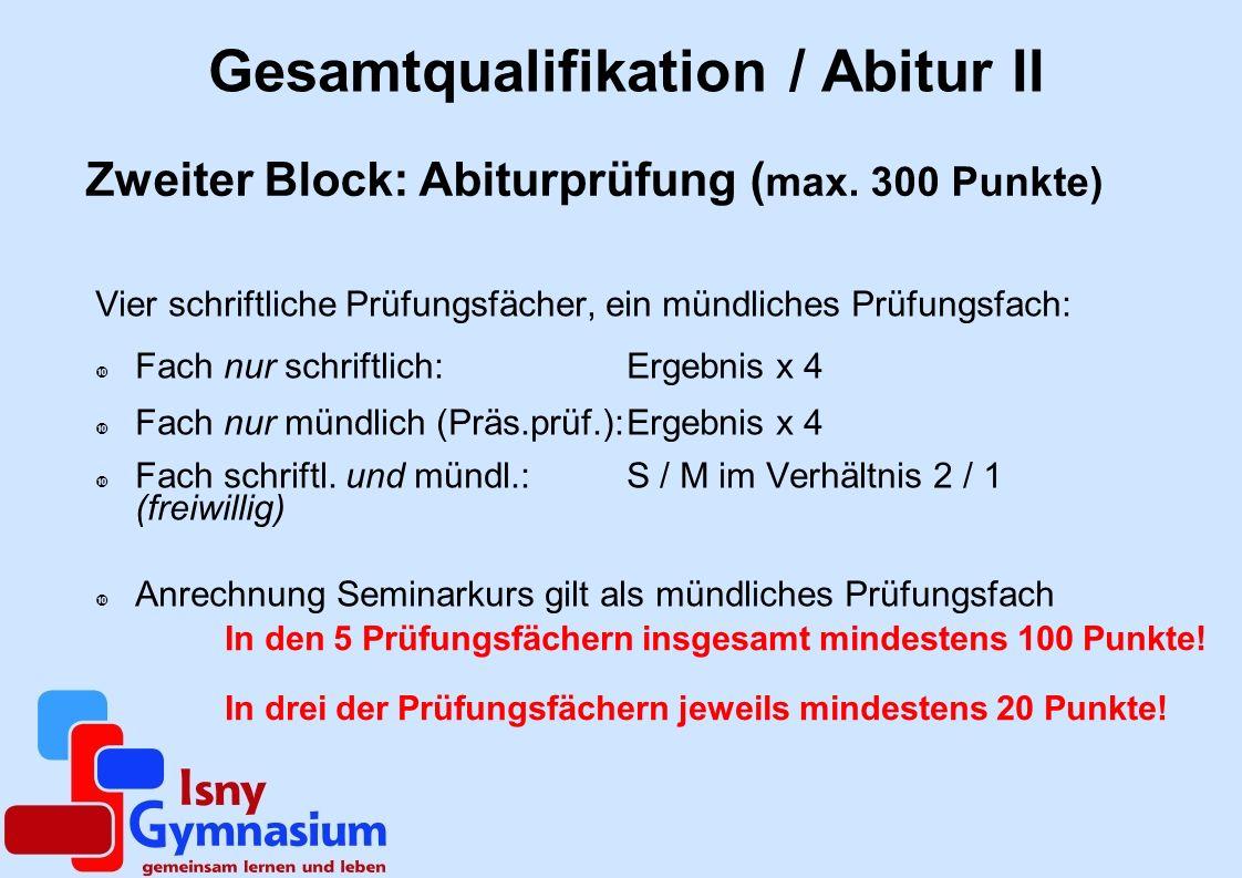 Gesamtqualifikation / Abitur II Vier schriftliche Prüfungsfächer, ein mündliches Prüfungsfach: Fach nur schriftlich: Ergebnis x 4 Fach nur mündlich (P