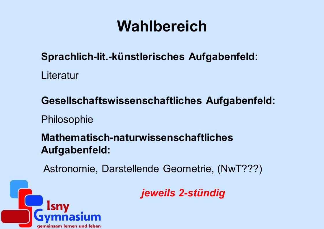 Mathematisch-naturwissenschaftliches Aufgabenfeld: Astronomie, Darstellende Geometrie, (NwT???) jeweils 2-stündig Wahlbereich Sprachlich-lit.-künstler