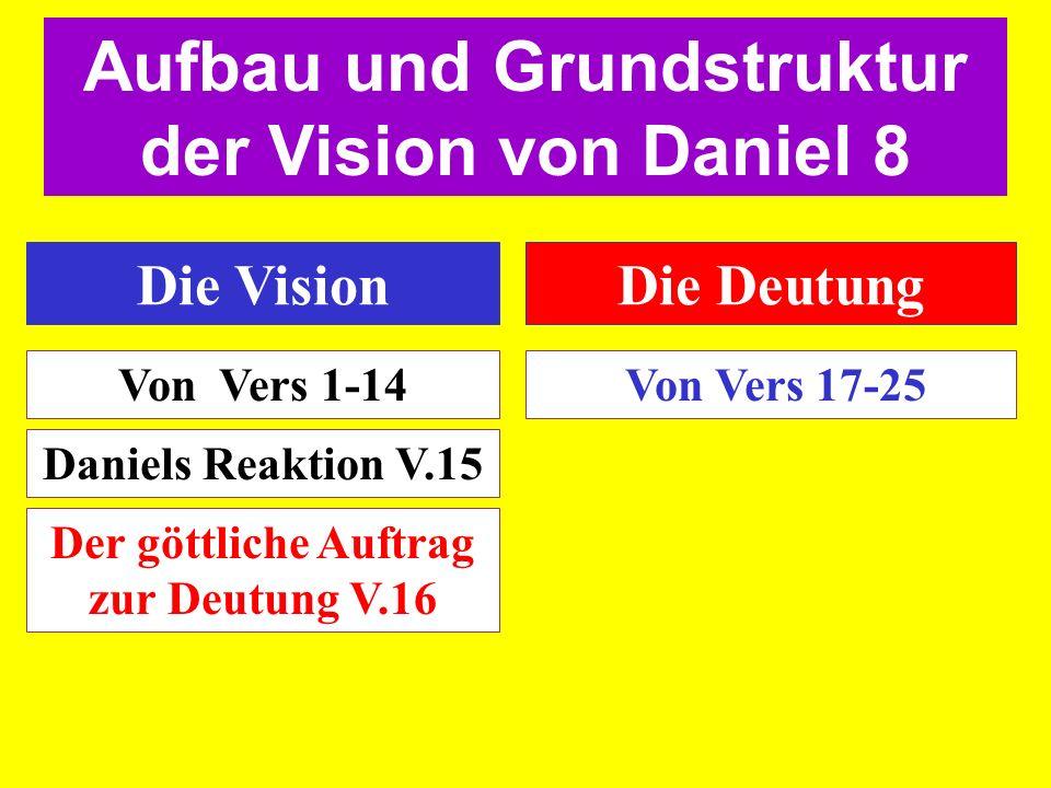 Die VisionDie Deutung Von Vers 1-14 Von Vers 17-25 Aufbau und Grundstruktur der Vision von Daniel 8 Daniels Reaktion V.15 Der göttliche Auftrag zur De