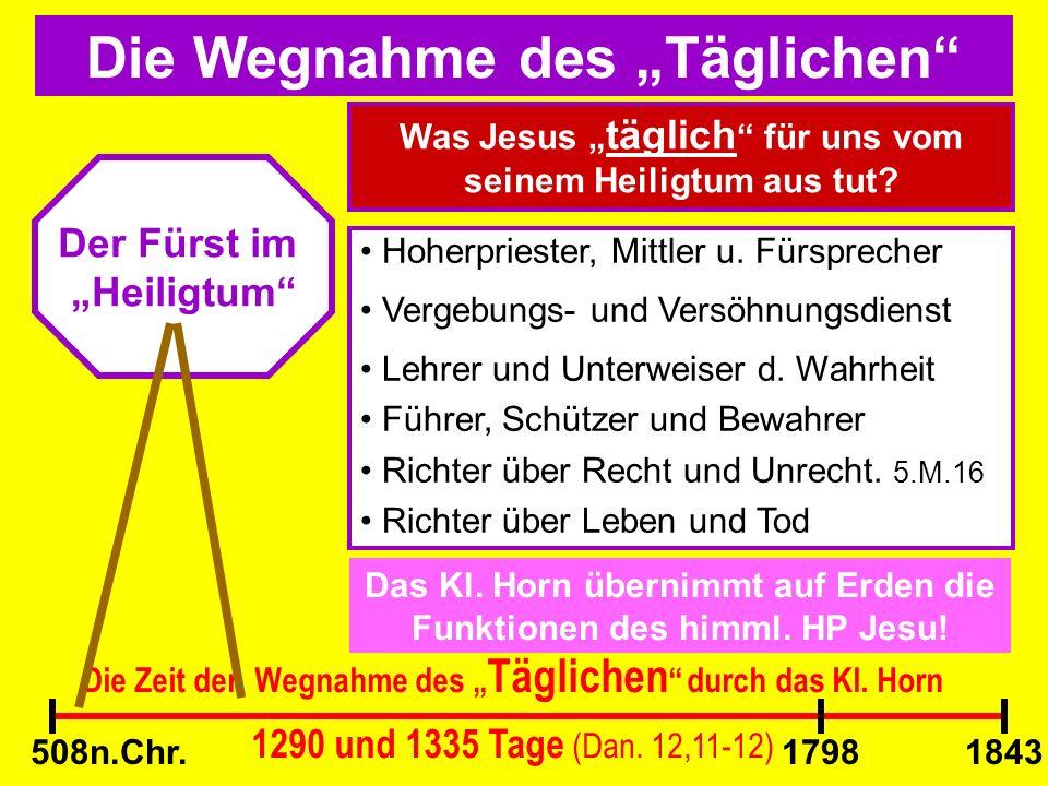 Die Wegnahme des Täglichen Der Fürst im Heiligtum Die Zeit der Wegnahme des Täglichen durch das Kl. Horn 1290 und 1335 Tage (Dan. 12,11-12) Was Jesus