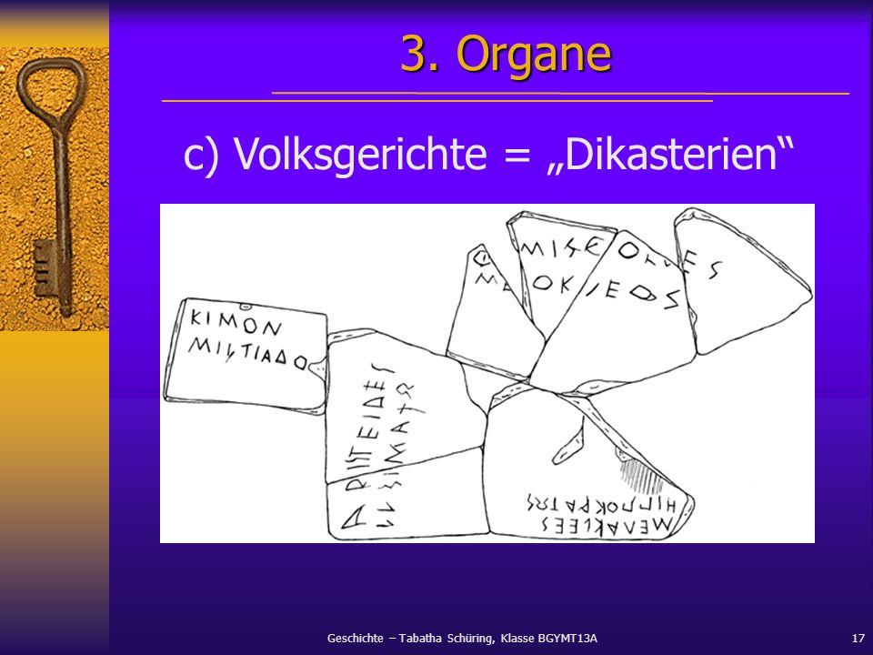 Geschichte – Tabatha Schüring, Klasse BGYMT13A17 c) Volksgerichte = Dikasterien 3. Organe