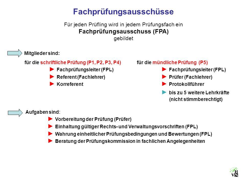 Fachprüfungsausschüsse Für jeden Prüfling wird in jedem Prüfungsfach ein Fachprüfungsausschuss (FPA) gebildet Aufgaben sind : Vorbereitung der Prüfung