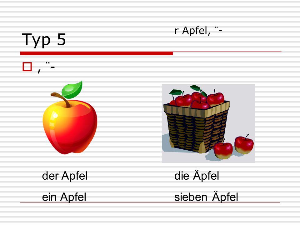 Typ 5, ¨- der Apfel ein Apfel die Äpfel sieben Äpfel r Apfel, ¨-